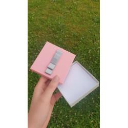 Krabička šedá + růžová s mašlí